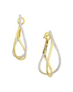 Frederic Sage - 18K Yellow Gold Crossover Diamond Hoop Earrings