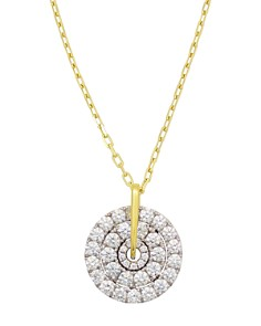 """Frederic Sage - 18K White & Yellow Gold Firenze Large Spinning Diamond Cluster Pendant Necklace, 16"""""""