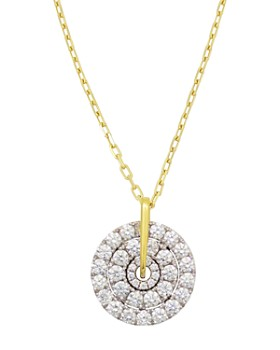 Frederic Sage - 18K White & Yellow Gold Firenze Large Spinning Diamond Cluster Pendant Necklace, 16""
