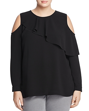 Vince Camuto Plus Ruffle Overlay Cold-Shoulder Top