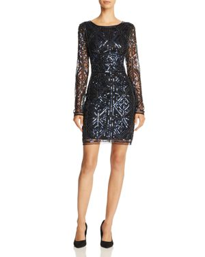 MOLLY BRACKEN Sequin Sheath Dress in Midnight Blue