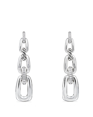 David Yurman Wellesley Linked Chain Drop Earrings with Diamonds