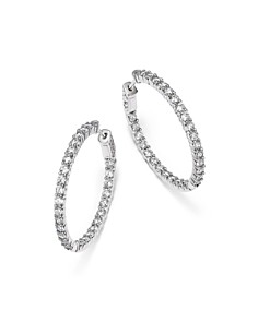 Bloomingdale's - Diamond Inside Out Hoop Earrings in 14K White Gold, 4.0 ct. t.w. - 100% Exclusive