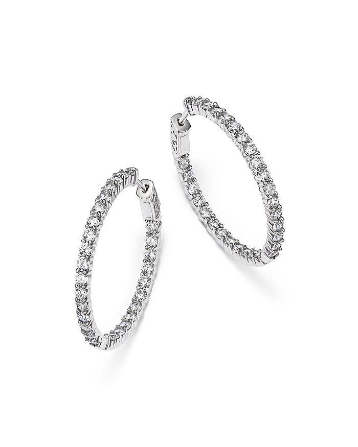 Bloomingdale's - Diamond Inside Out Hoop Earrings in 14K White Gold, 4.0 ct. t.w. - 100% Exclusive