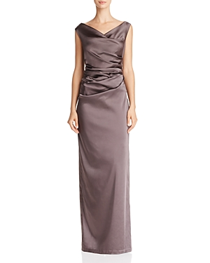 Adrianna Papell Ruched Satin Column Gown