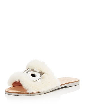 kate spade new york Women's Ingrid Faux Fur Slide Sandals