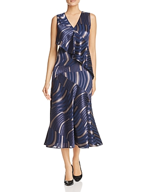 Lafayette 148 New York Simone Printed Ruffle Midi Dress