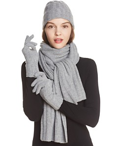 C by Bloomingdale's - Ribbed Cashmere Cuff Hat, Headband, Scarf & Gloves - 100% Exclusive