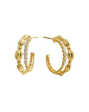 GUMUCHIAN 18K Yellow Gold Nutmeg Diamond Double Hoop Earrings in White/Gold