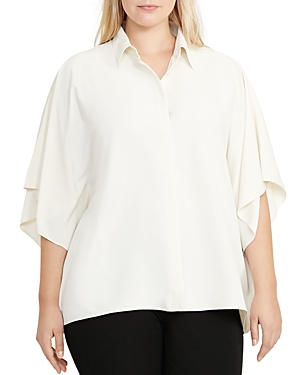 Lauren Ralph Lauren Plus Draped Sleeve Top
