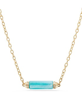 David Yurman - Barrels Single Station Necklace with Gemstones & Diamonds in 18K Yellow Gold