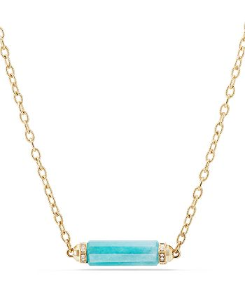 David Yurman - Barrels Single Station Necklace with Amazonite & Diamonds in 18K Gold