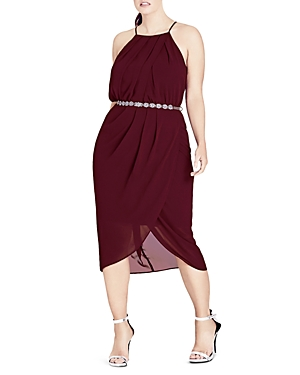 City Chic Love Faux-Wrap Belted Dress