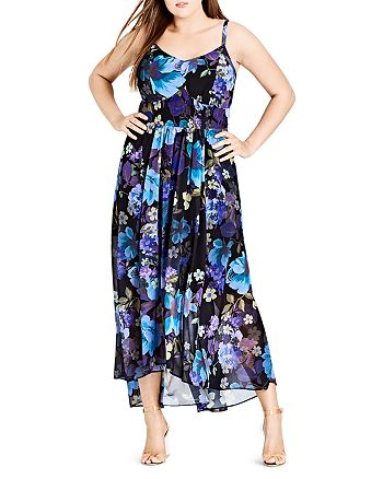 City Chic Plus - Falling Floral Maxi Dress