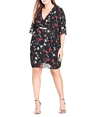 City Chic Floral Allure Faux-Wrap Dress