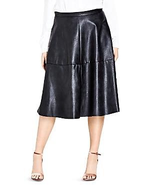 City Chic Flirt Faux Leather Skirt