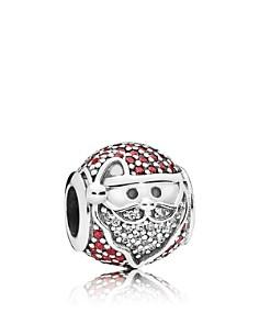 PANDORA Charm - Sterling Silver, Cubic Zirconia & Enamel Sparkling Jolly Santa - Bloomingdale's_0