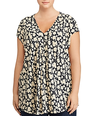 Lauren Ralph Lauren Plus Floral Print Front Pleat Top