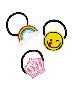Capelli Girls' Emoji-Patch Ponytail Holders, Set of 3