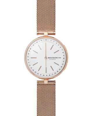 SKAGEN CONNECTED Women'S Signatur Rose Gold-Tone Stainless Steel Mesh Bracelet Hybrid Smartwatch 36Mm in Pink