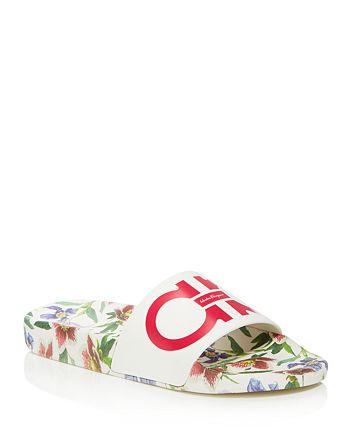 0c2ace906987 Salvatore Ferragamo Women s Groove Floral Pool Slide Sandals ...