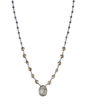 ELA RAE Teardrop Multi-Stone Pendant Necklace, 16 in Brown Moonstone