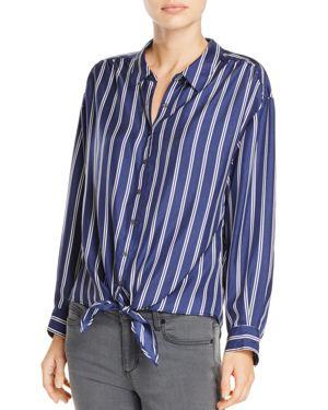 Joie Adiba Tie-Front Striped Silk Shirt thumbnail