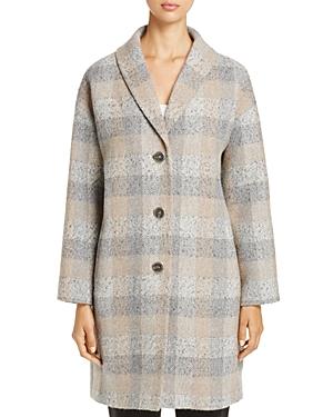 Eileen Fisher Check Print Wool Tweed Coat