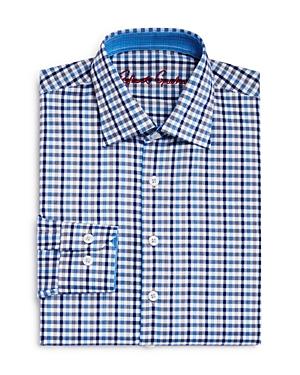 Robert Graham Boys Blue MultiCheck Dress Shirt  Big Kid