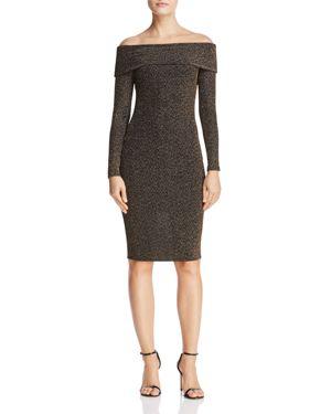 Aqua Metallic Off-the-Shoulder Dress - 100% Exclusive