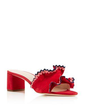 Loeffler Randall Women's Vera Suede Ruffle Block Heel Slide Sandals