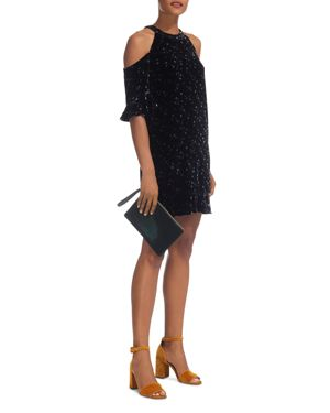 Whistles Constellation-Print Cold-Shoulder Velvet Dress