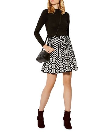 KAREN MILLEN - Graphic Fit-and-Flare Dress