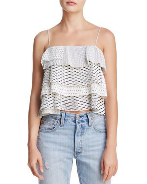 C/Meo Collective Fundament Tiered Ruffled Polka-Dot Top