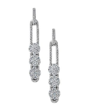 HULCHI BELLUNI 18K White Gold Tresore Diamond Trio Linear Drop Earrings