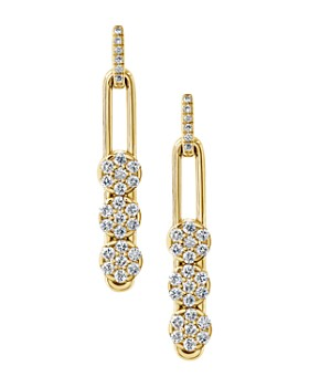Hulchi Belluni - 18K Yellow Gold Tresore Diamond Trio Linear Drop Earrings