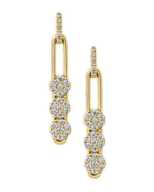 HULCHI BELLUNI 18K Yellow Gold Tresore Diamond Trio Linear Drop Earrings in White/Gold