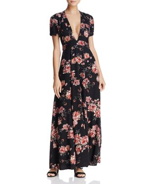 Sadie & Sage Deep-v Floral Print Maxi Dress