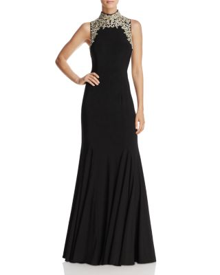 AVERY G Embroidered Mock Neck Gown in Black/Gold