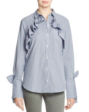Kenneth Cole Ruffled Poplin Shirt