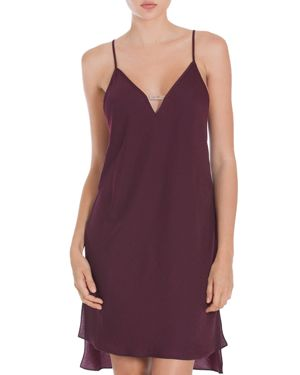 Midnight Bakery Velvet-Trimmed Satin Nightgown