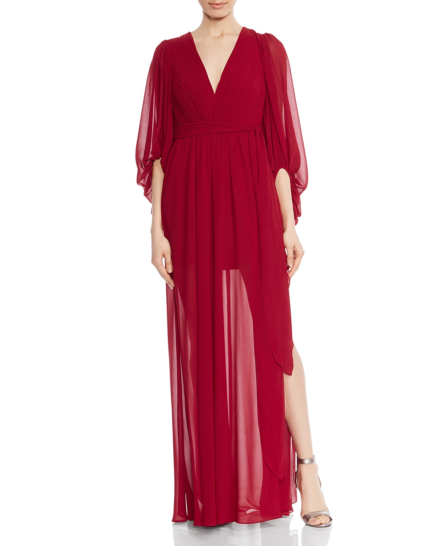 HALSTON HERITAGE Plissé Pleated Gown   Bloomingdale\'s