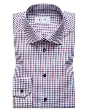 Eton Windowpane Grid Contrast Button Regular Fit Dress Shirt