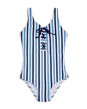 Splendid Girls' Striped Lace-Up Swimsuit - Big Kid
