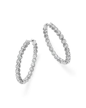 Bloomingdale's Diamond Inside Out Hoop Earrings in 14K White Gold, 5.0 ct. t.w. - 100% Exclusive