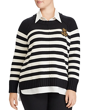 Lauren Ralph Lauren Plus Layered Look Stripe Sweater