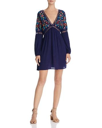 $En Créme V-Neck Embroidered Dress - Bloomingdale's