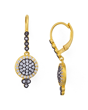 Freida Rothman Mini Pave Leverback Earrings