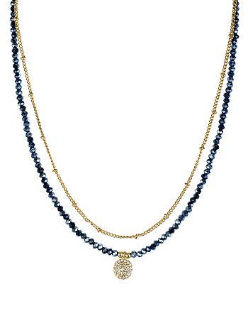 "AQUA - Beaded Pyrite Pendant Necklace, 14"" - 100% Exclusive"