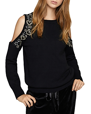 Sanctuary Heart & Soul Embellished Cold-Shoulder Sweater